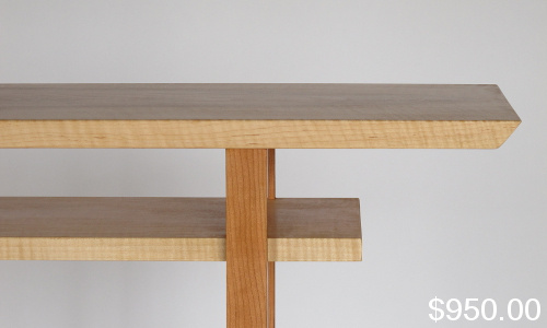 Classic Console Table- for narrow hall, entry table, sofa table.  Handmade Custom Wood Furniture by Mokuzai Furniture