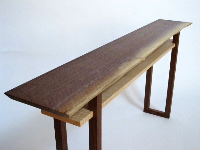 Live Edge Walnut Console Table- a live edge wood slab makes this table top uniquely beautiful- a narrow console table, narrow sofa table or artistic side table for your home decor