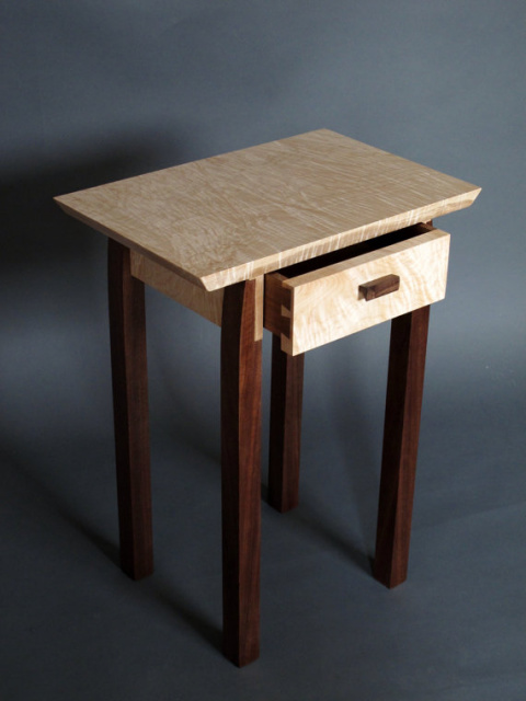 Small narrow end table with drawer storage for your artistic side table or solid wood accent table, narrow nightstand or bed side table