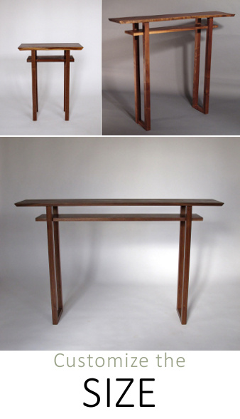 Easily customize our Classic Collection.  Solid wood tables in walnut cherry and tiger maple available with live edge table tops and unique hand-cut dovetail feet. Modern wood furniture for small spaces