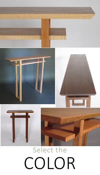 Our classic tables are vailable in a variety of wood colors.  Solid wood tables in walnut, cherry and tiger maple for your narrow console table, hall table , narrow end table or entry table.