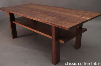 Our Classic Coffee Table in solid walnut- a mid century modern furniture design perfect for small spaces like apartments and condos.  Fine furniture