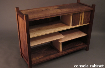 Our Console Cabinet pictured in walnut and tiger maple- a sideboard for the dining room or modern entertainment center.