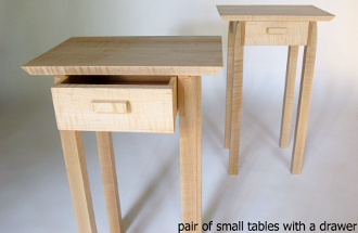 A pair of narrow tables with a drawer- handmade solid wood tables for a narrow nightstand or small end tables.  Perfect for small spaces