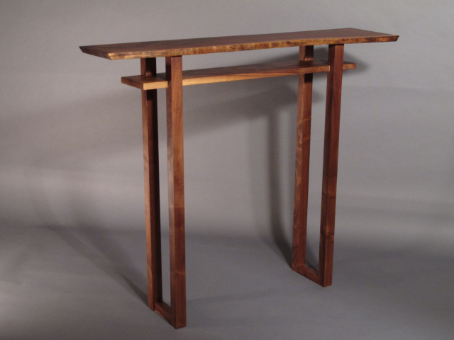 narrow hall table, entry table or small console table with live edge pictured in walnut