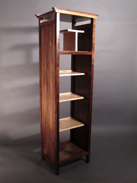 open narrow walnut bookcase media storage tower