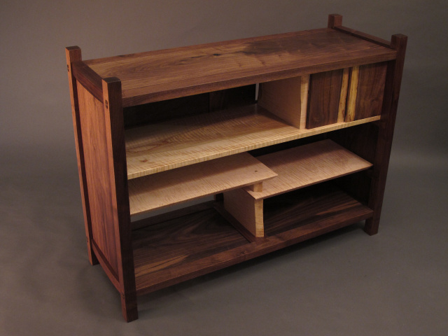 TV console cabinet, media console cabinet, bookcase, display,  mid century modern wood furniture.  Handmade custom wood furniture