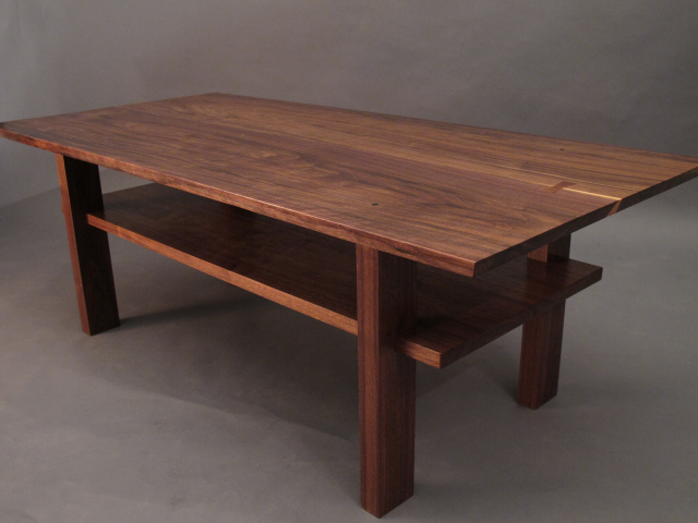 Walnut Coffee table with storage shelf- mid century modern furniture styling, small coffee table, narrow coffee table, solid wood accent tables for small spaces- Wood Furniture Handmade in the USA