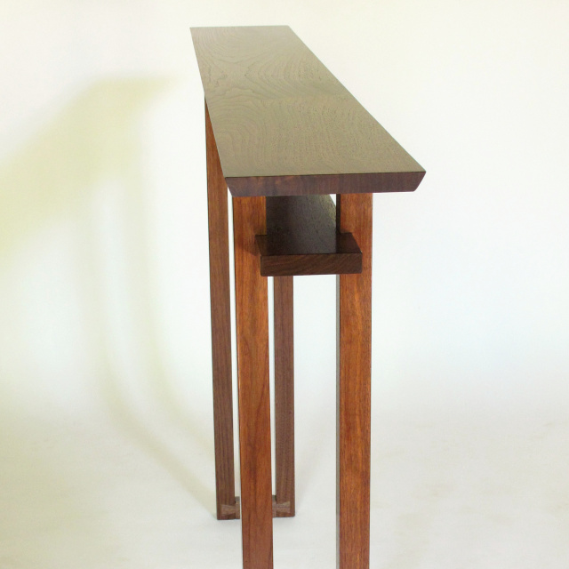 Very Narrow Console Table- Minimalist Wood Hall Table, Entry Table, Side Table: Handmade and pictured in solid walnut