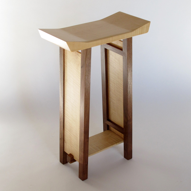 Modern wood table with artistic shaped table top for your wood entry table, small narrow side table or accent table for small spaces- Wood furniture handmade in the USA