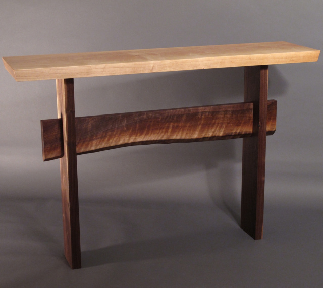 A narrow console table with live edge stretcher- modern wood table for your hall table, sofa table or buffet server