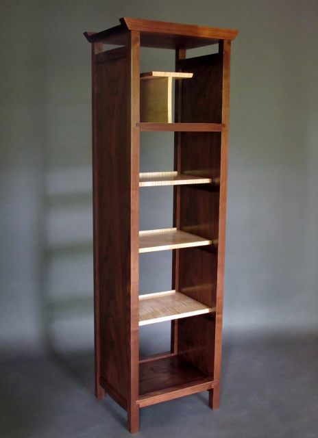 Tall Narrow bookcase, media tower and display case- mid century modern bookshelves
